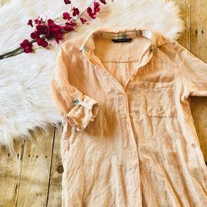 Zara Basic Linen Tunic Top Orange Size Medium